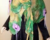 Summer Green Scarf Shawl Wrap Flowers Handmade wool 100% felted Lagenlook LIA design