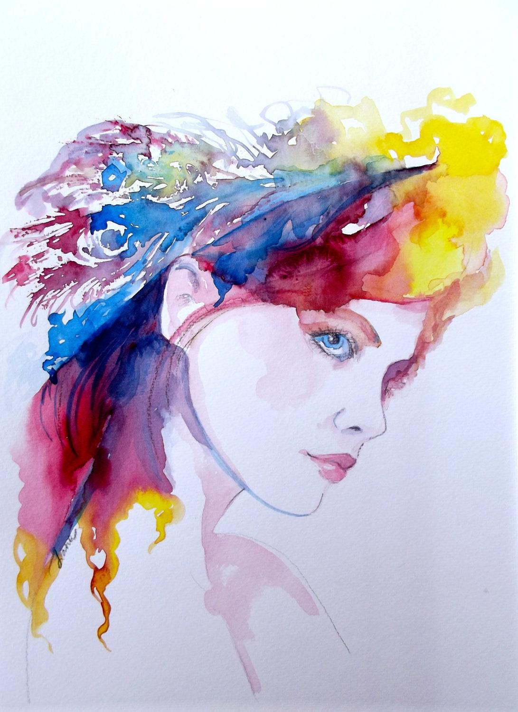 Fantasy Watercolor Painting Contemporary Fashion Illustration