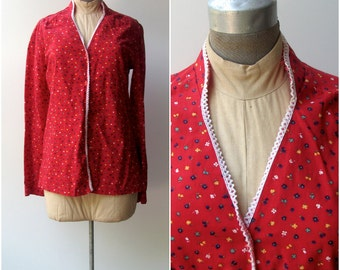Vintage Blouse / Prairie Blouse / Red with flowers and white trim.