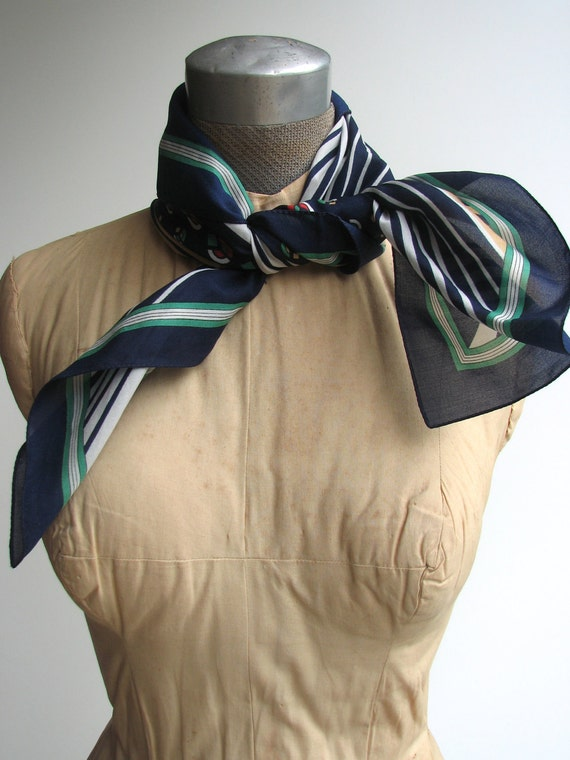 Vintage Silk Scarf / 1960s geometric scarf in blue