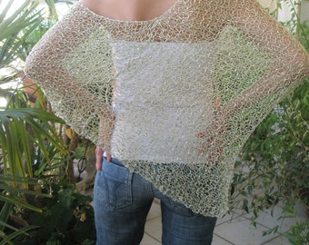 Light green knitted poncho