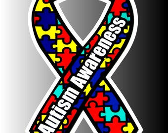 Autism Awareness Ribbon Logo Bumper Sticker Decal