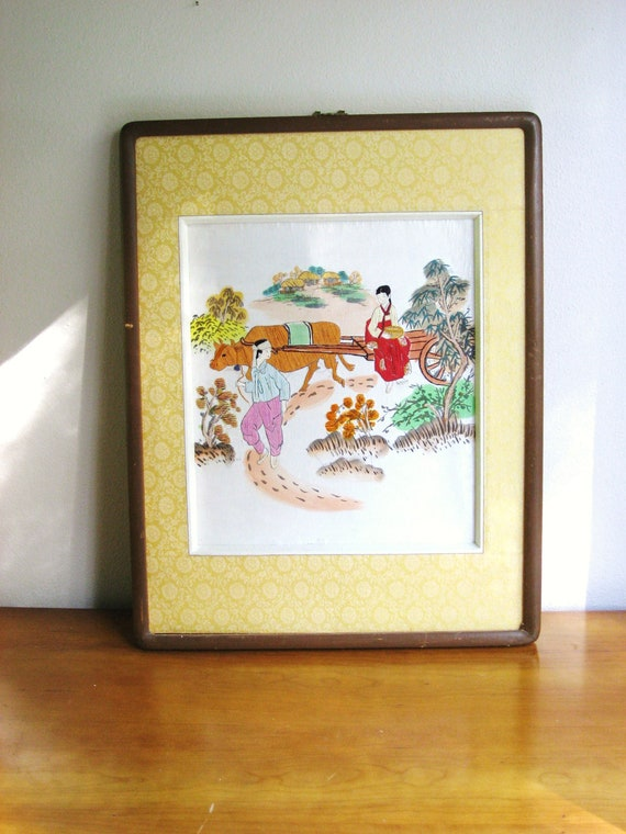 Vintage Asian Silk Thread Painting, Wall hanging, Watercolor accents