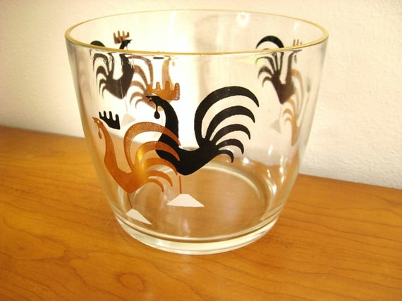 Vintage Rooster Ice Bucket or Bowl, 1950's Mid Century Barware, Glass, Gold and Black