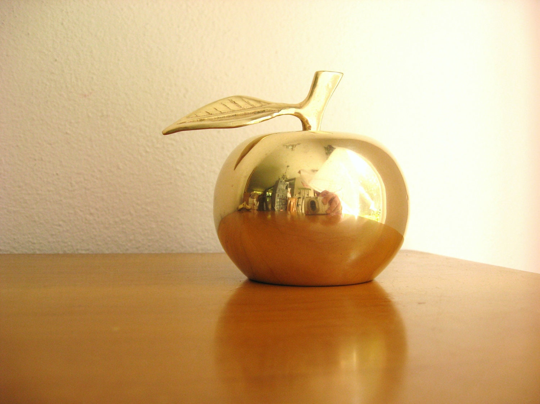 Vintage Brass Apple Bell Gold Apple Figurine