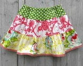 Girls skirt with flowers and polka dots - Size 5