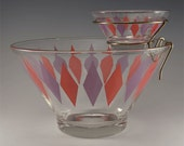 Anchor Hocking Harlequin Chip and Dip Bowl Set with Bracket