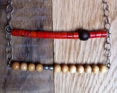Trapeze Necklace with Red Coral and Wood Beads