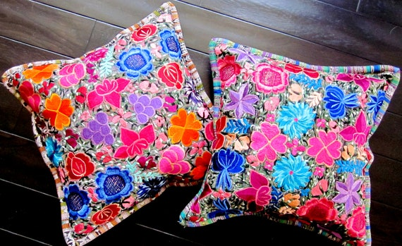 Decorative Pillows To The Trade : Embroidered Ethnic Throw Pillows Floral throw pillow covers