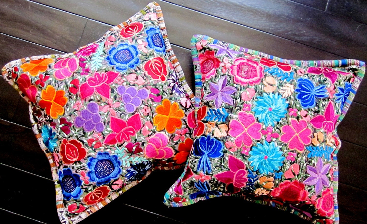 Embroidered ethnic throw pillows floral pillow covers