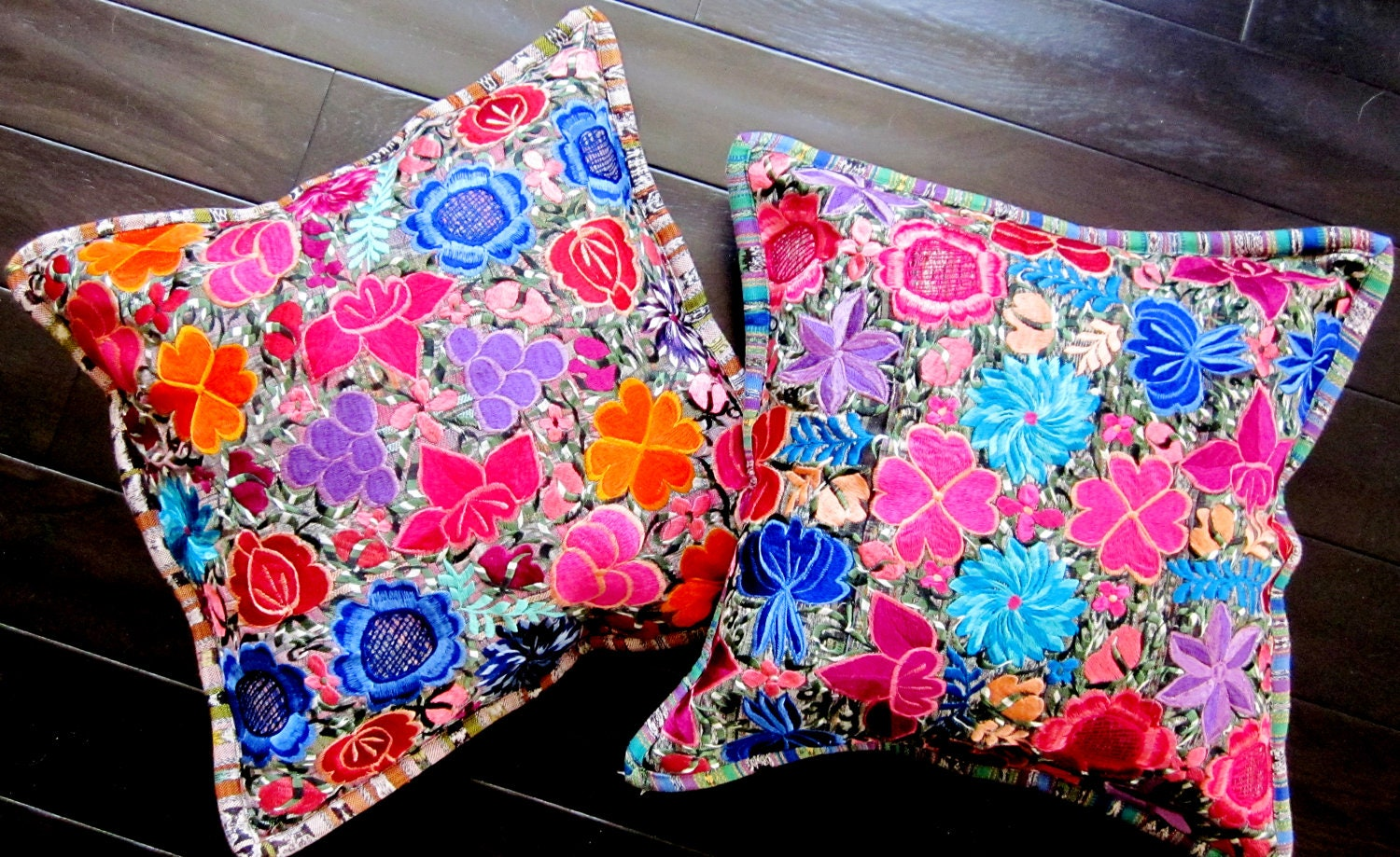 Embroidered Ethnic Throw Pillows Floral throw pillow covers