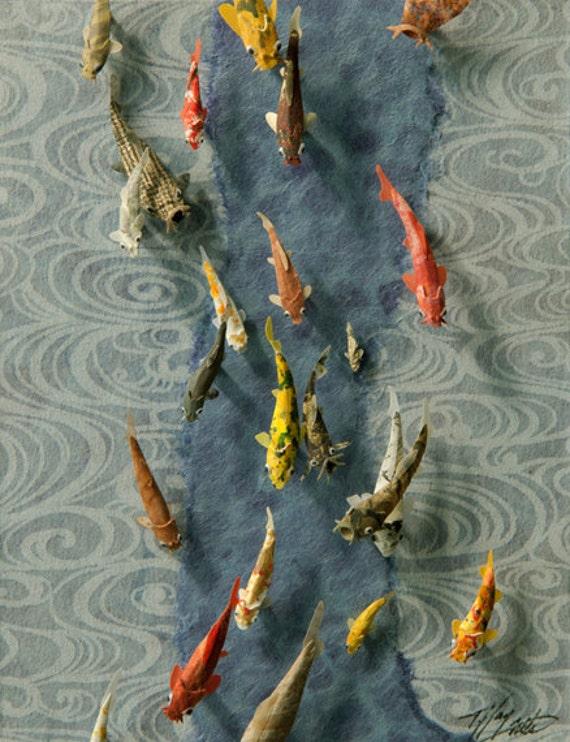 Koi paper sculpture 39 stream of consciousness 39 for Koi fish statue