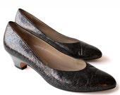 BRONZE NOTTE - Vintage Black Heels | Womens Designer Heels | Salvatore Ferragamo | Black Pumps | Size 6 | Vintage Heels | Italian Heels