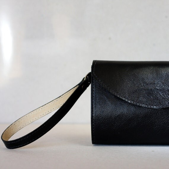 black leather purse wristlet bag black small leather clutch  Dalfia leather handbag  evening and everyday bag