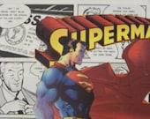 Superman Comic Book Panel Art - Mixed Media - Collage
