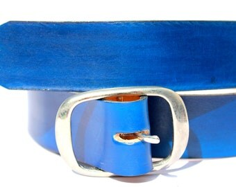 LEATHER BELT BLUE  handmade natural vegetable tanned leather