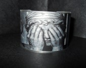 Dr Who Steampunk Doctor Who Weeping Stone Angel 1 3/4 Inch Aluminum Cuff Bracelet