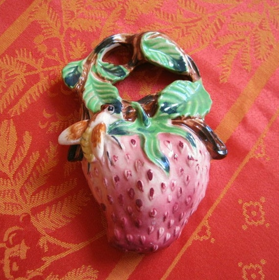 Vintage Ceramic Strawberry Wall Pocket Vase