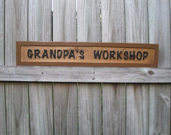Grandpa's Workshop Exterior Sign - Routed Cedar Outdoor Grandpa's Workshop Sign
