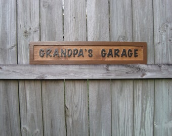 Grandpa's Garage Exterior Sign - Routed Cedar Outdoor Grandpa's Garage Sign - Papa's Garage