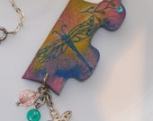 Necklace, Puzzle Piece Pendant with Dragon Flies and Charms