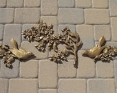 Vintage Gold birds and flower wall hanging