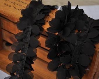 Black chiffon Trim, Chiffon Rosette Trim