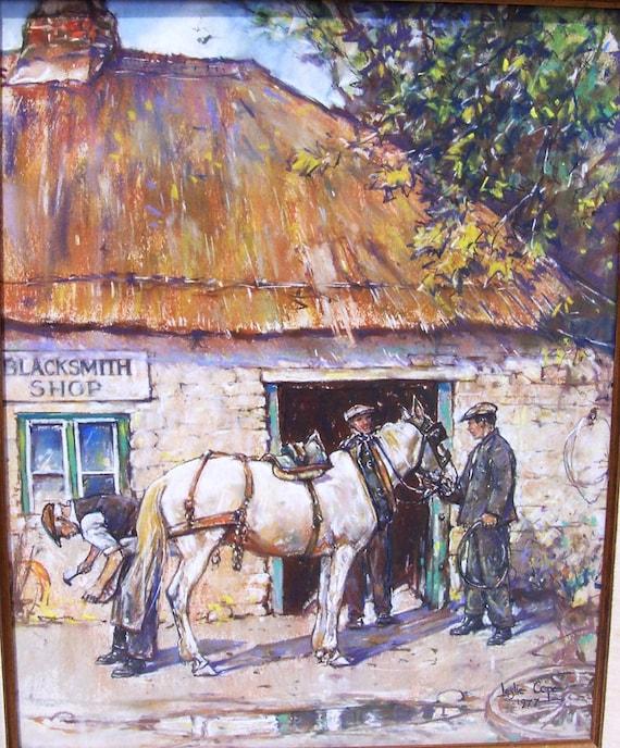 "Original Pastel Painting by Leslie Cope ""An Old World Blacksmith Shop"" Original Frame 1977"