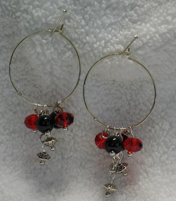 Georgia Earrings, Bulldog Earrings, Red and Black Earrings, Hoop Earrings