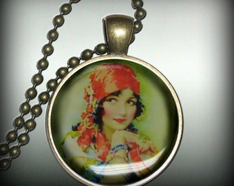 Gypsy Pendant Charm, Resin Necklace, Image Pendant, Necklace Pendant (p17)