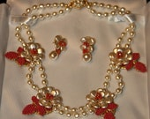 Miriam Haskell Baroque Pearl and faux coral seed bead earrings and necklace set