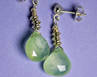 Prasiolite (Green Amethyst) Faceted Briolette Earrings