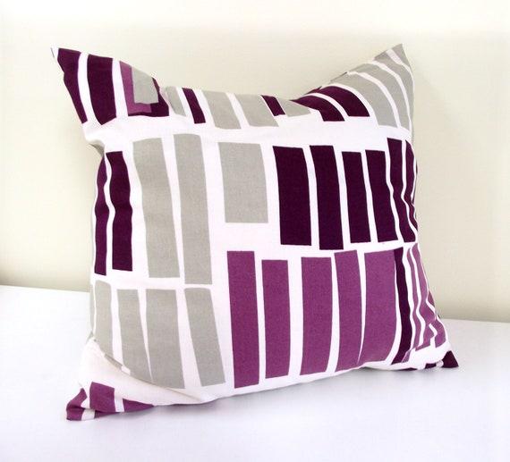 Modern Aubergine Purple Stripe. Stripe Pillow Cover. Stripe Cushion Cover. 16 x 16 ONE COVER