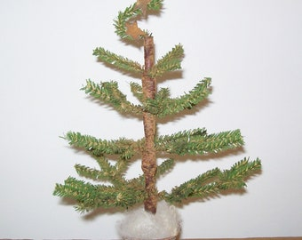 Primitive Faux Feather Tree in Primitive Santa Bucket (Triple Twig Tree with Rusty Stars)