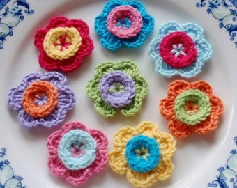 8 Crochet  Flowers In  Multicolor YH - 028-01
