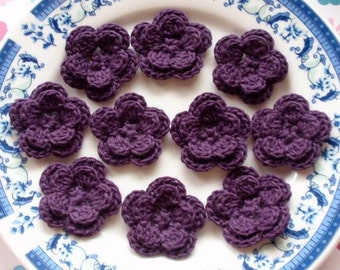 10 Crochet Flowers In Plum YH-030-02