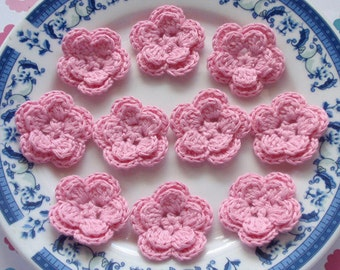 10 Crochet Flowers In Pink  YH-030-012