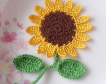 Crochet Sunflower With Leaves In Glod and Brown And Green YH-073