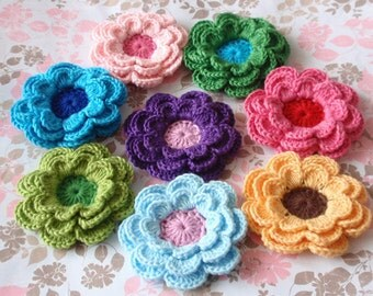 8 Crochet Flowers  In Multicolors YH-098-05
