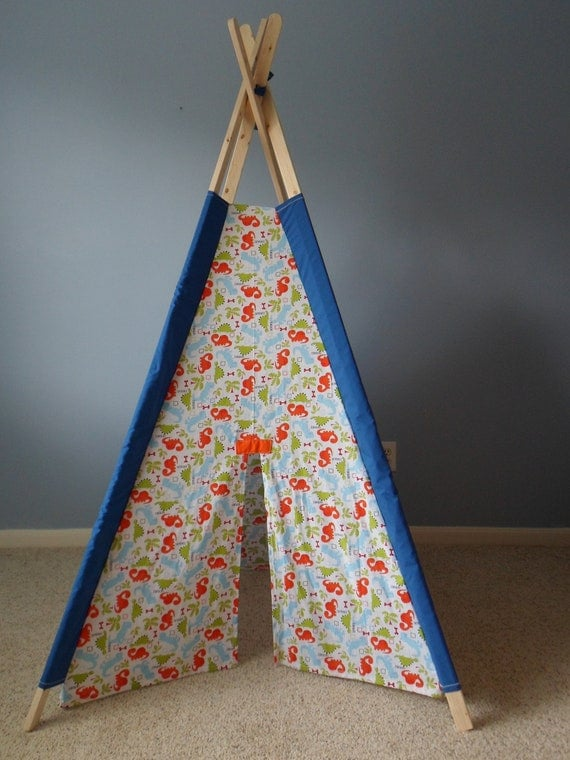 Teepee, Childrens Play Tent, Tipi,  Dinosaur Print with Blue Sleeves
