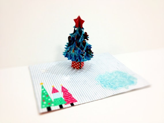 Merry Christmas Card, 3D pop up, Handmade pop up card, Happy New Year, Happy Holidays, Christmas Tree, X mas, Santa, Gift card, paper card