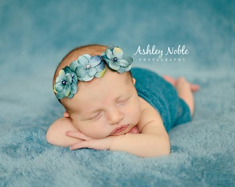Baby girl headband Blue triple flower headband