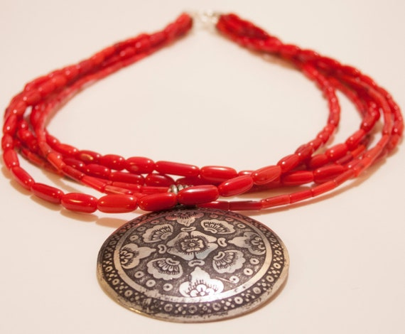 Red Coral Necklace 19'' Genuine Coral Necklace 4 Strands with pendant 50mm