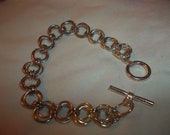 """sterling silver linked chain bracelet.with sterling silver clasp 7""""loung"""