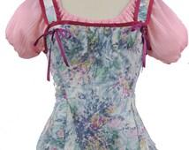 Vintage printed cotton regency style corset