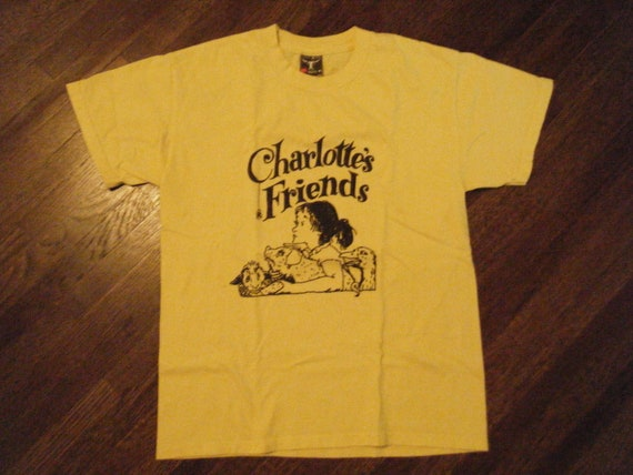 Vintage 80's Charlotte's Friends Yellow Tee Shirt S