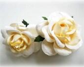 Flowers Earrings, Mulberry Paper Earrings, Mulberry Fiber White Roses Earrings