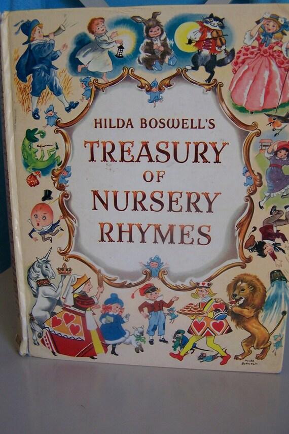 Treasury Of Nursery Rhymes Mother Goose Hilda Boswell 1950s
