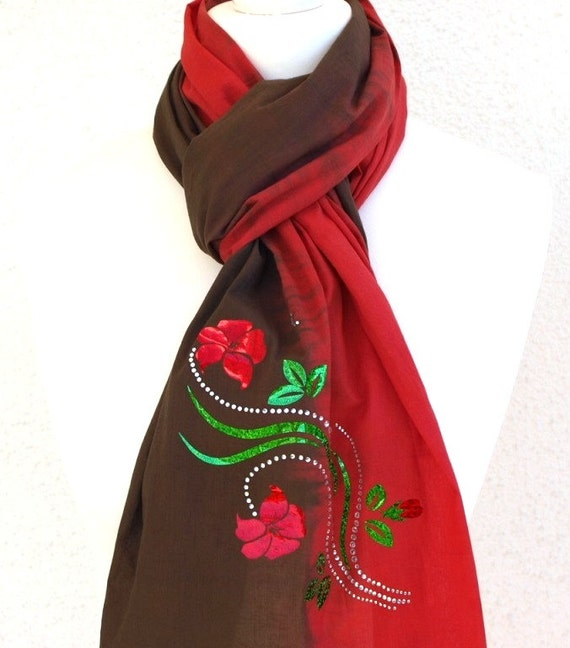 Cotton Scarf red olive floral applique FREE SHIPPING