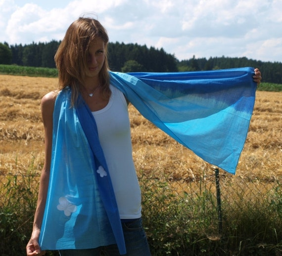 Aqua Blue Cotton Scarf with white Butterfly Applique, Shades of Blue Scarf,